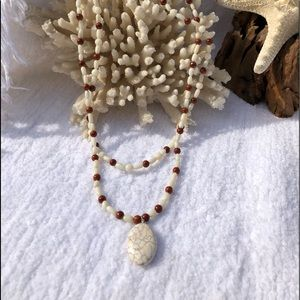 Jewelry - White Turquoise & Rice Coral Necklace